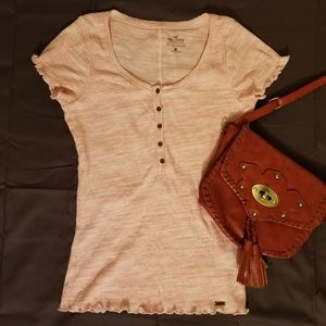 Hollister Must Have Button Down Pink Ruffle Top